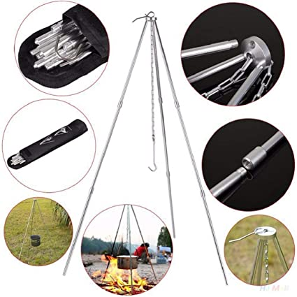 Outdoor Campfire Cooking Barbecue Tripod Aluminum Alloy Picnic Grill Grate Stand
