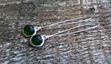 Recycled Vintage Olive Green Wine Bottle Long Drop Charm Earrings