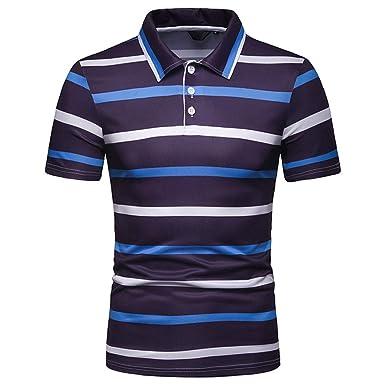 63e6441c5 Simayixx Sport Shirts Plus Size Men s Regular-fit Quick-Dry Stripe Golf  Shirt Cotton
