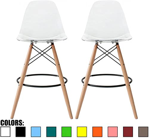 2xhome Set of 2 Clear 25 Mid Century Modern Molded Shell Acrylic Plastic Eiffel Dowel Bar Stool Barstool Chairs Chair With Back Side Armless For Kitchen Commercial Home Outdoor Garden Patio Ghost DSW