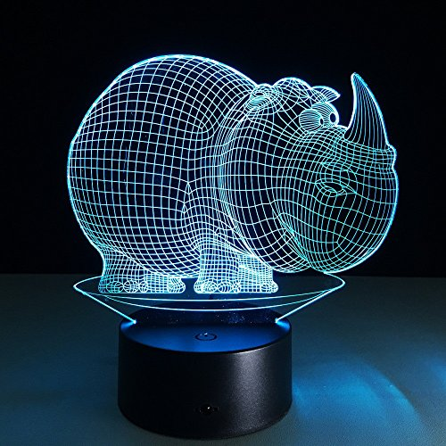JSTMYYXGS 3D Night Light, Rhino 3D Acrylic Table Lamp Bedroom Bedside Lamp LED Night Light Creative Gift Lighting, (Size : with Music Player) by JSTMYYXGS (Image #7)