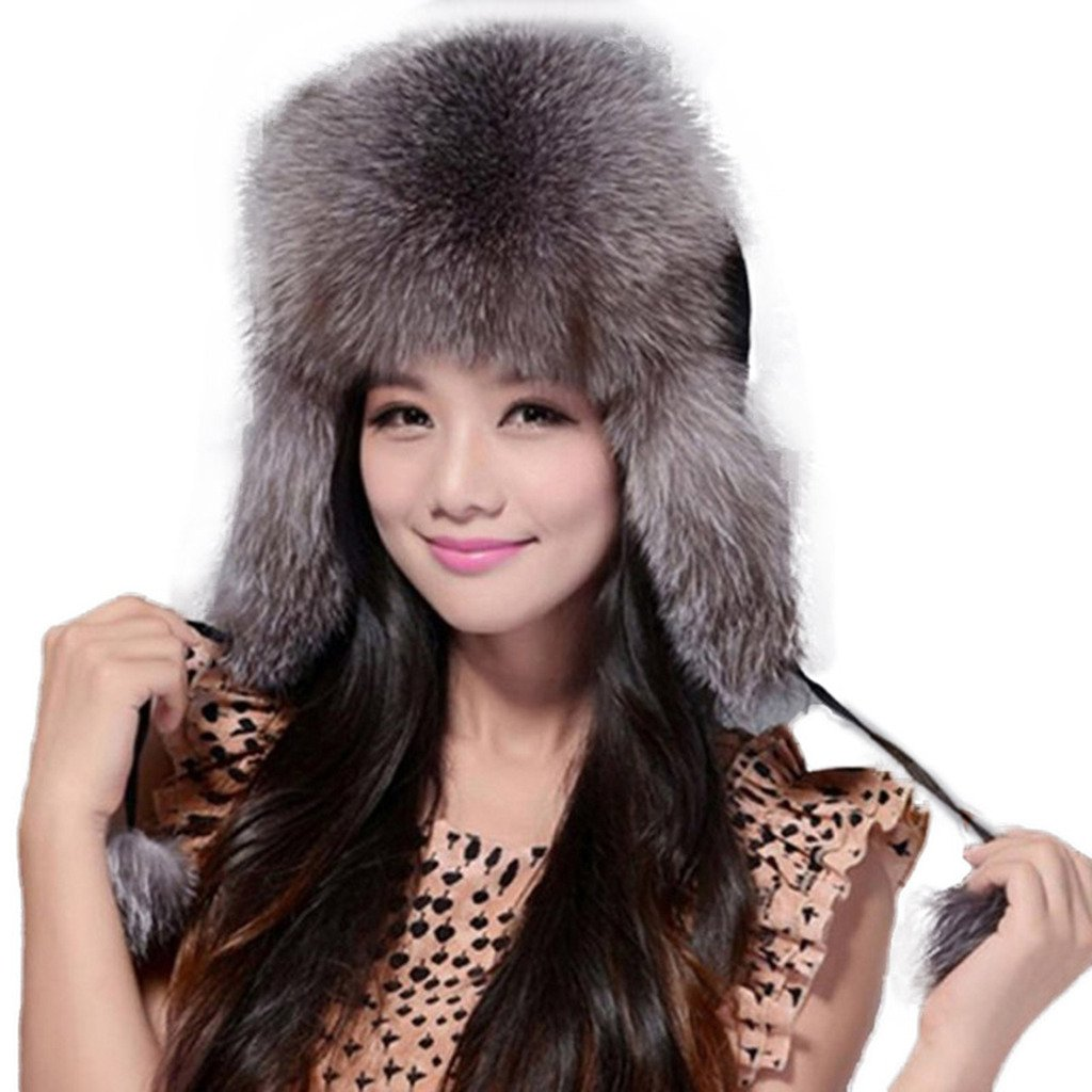 Fur Story Women's Trapper Hat with Real Fur Earmuffs Warm Winter Fur Hat 060101 Silver Fox