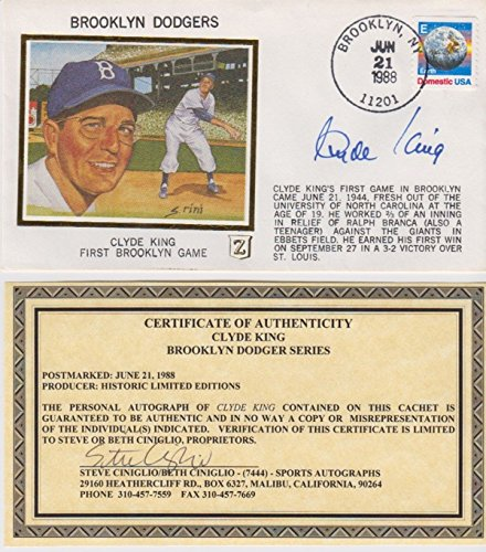 (Clyde King Signed Autographed Brooklyn Dodgers FDC 32595)