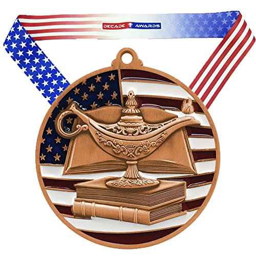 Decade Awards Academic Patriotic Medal, Bronze - 2.75 Inch Wide Scholastic Third Place Medallion with Stars and Stripes American Flag V Neck Ribbon