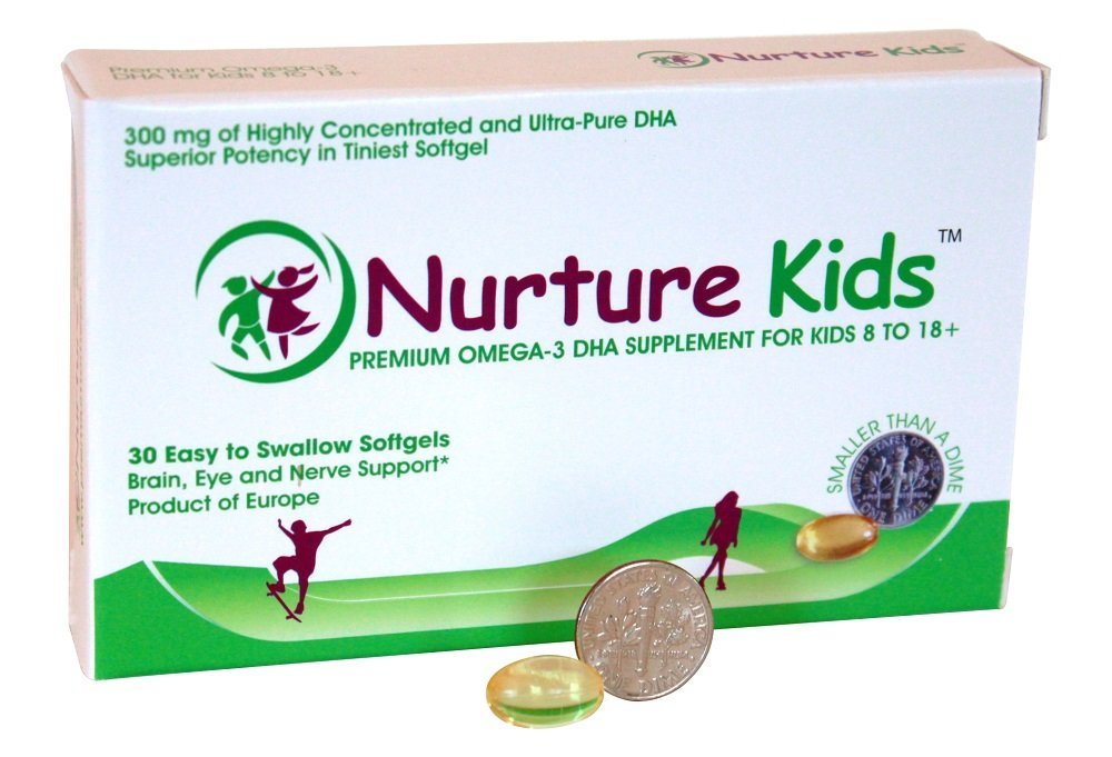 Nurture Kids Omega 3 DHA for Children 8+Years - 30 Tiny Softgels for Their Growing Brain, Healthy Nerves, Vision, Focus Support