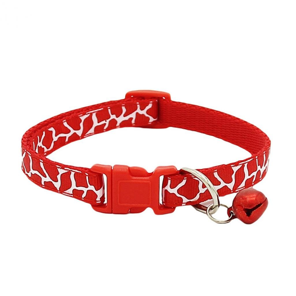 ZX101 Fashion Adjustable Pet Collar Necklace with Bell for Small Dog Puppy Kitten Cat (Red)
