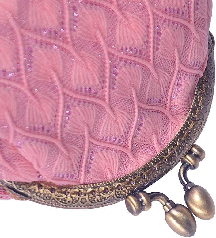iSuperb Porte Monnaie Clic Clac Retro Femmes Portefeuille Porte Monnaie Perles Vintage Coin Purse Petit 12x9 x8cm Blanc