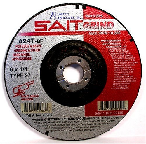 United Abrasives- SAIT 20065 Type 27 4-1/2-Inch x 1/4-Inch x 7/8-Inch Grade A24T Edge Depressed Center Grinding Wheels, 25-Pack by United Abrasives- SAIT (Image #3)