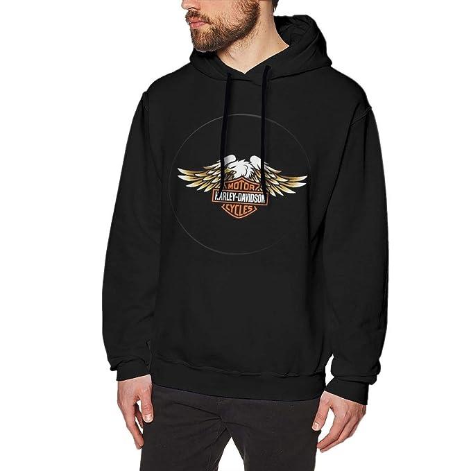 Wishesport Harley Davidson Men Classic Pullover Hooded Hoodies Black 34