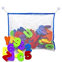 Bath Letters and Numbers with Bath Toy Organizer. Educational Bath Toys with ...