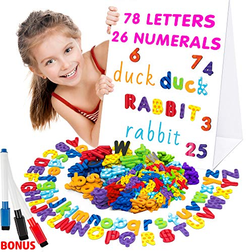 Alphabet Magnets - Magnetic Letters - Abc Magnets - 78 Foam Letters - 26 Kids Magnetic Numbers - Dry Erase Board for Kids - Fridge Toddler Magnets for Kids - - Bet Magnets
