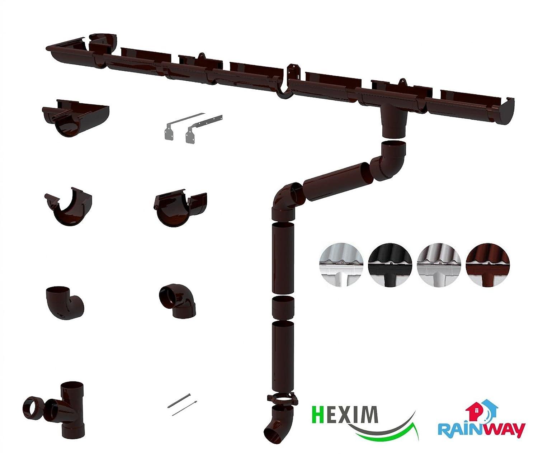 Farbe:Braun PVC RainWay Regenrinnensystem Regenwasser Regenrinne RINNENHALTER Durchmesser:90 mm
