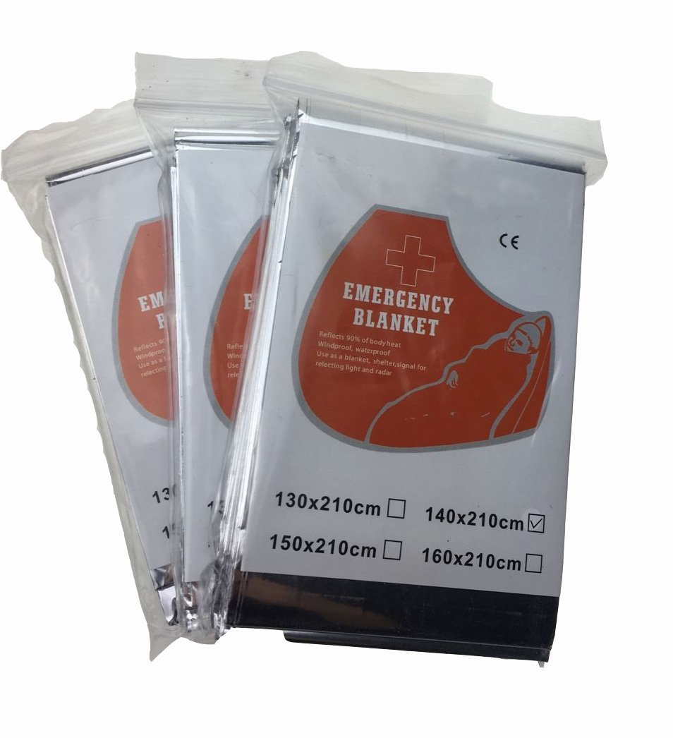 Emergency Thermal Blanket, 5-Pack, 55'' x 82''. Perfect for Emergency Kits, First Aid Kits and Extreme Cold Weather. Water proof, Wind Proof, FDA Approved and Retains 90% Body Heat.