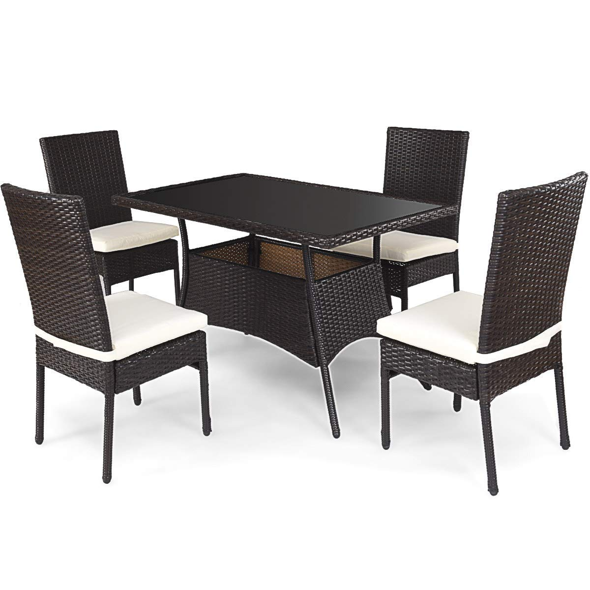 Tangkula Patio Furniture, 5 PCS All Weather Resistant Heavy Duty Wicker Dining Set with Chairs, Perfect for Balcony Patio Garden Poolside, 5 Piece Wicker Table and Chairs Set by Tangkula (Image #8)