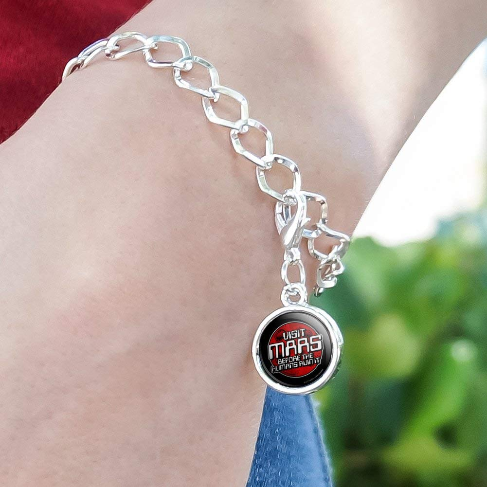 GRAPHICS /& MORE Visit Mars Before The Humans Ruin It Red Planet Funny Humor Silver Plated Bracelet with Antiqued Charm