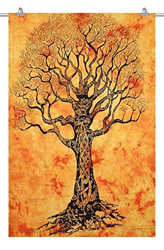 Handicraftofpinkcity White Color Indian Tree Of Life Tapestry Hippie Mandala Wall Hanging Throw Bohemian Decor Bedspread