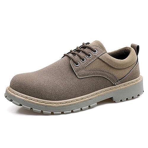 Botas de Hombre Botas de otoño y Invierno Botines de Gamuza de Cuero Calzado de Moda con Cordones para Hombres: Amazon.es: Zapatos y complementos