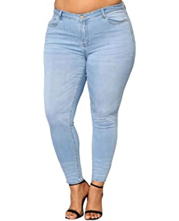910d03565c2 5IVE Women s Plus Size Stretch Black Blue High Waist Denim Jeans Pants  Skinny Leg