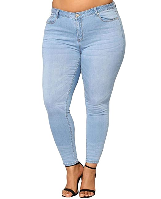 0f24ef63abe97 5IVE Women's Plus Size Stretch Black/Blue High Waist Denim Jeans Pants  Skinny Leg (