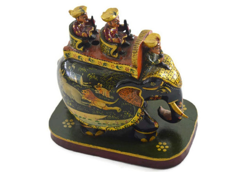 Eurasia Handmade Kadam Wood Elephant With Riders With Miniature Painting Gold Color 3''-8''