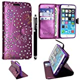 Huawei Y6 Case, Kamal Star® Rose Purple Diamond Book Premium PU Leather Magnetic Case Cover + Stylus
