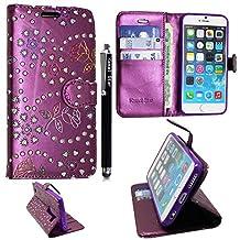 Huawei Y6 Case, Kamal Star® Rose Purple Diamond Book Premium PU Leather Magnetic Case Cover + Stylus