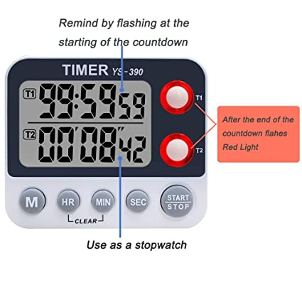 XREXS Digital Dual Kitchen Timer, Adjustable Alarm Volume Timer, Cooking  Timer, Stopwatch, Large LCD Display Count Up/Down Timer for