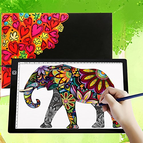 A4 Ultra-Thin Portable LED Light Box Tracer USB Power Cable Dimmable Brightness Artcraft Tracing Light Pad Light Box Art Supplies Arts and Crafts for Girls Boys Kids Gift Set Tracing Light Black by Tikteck