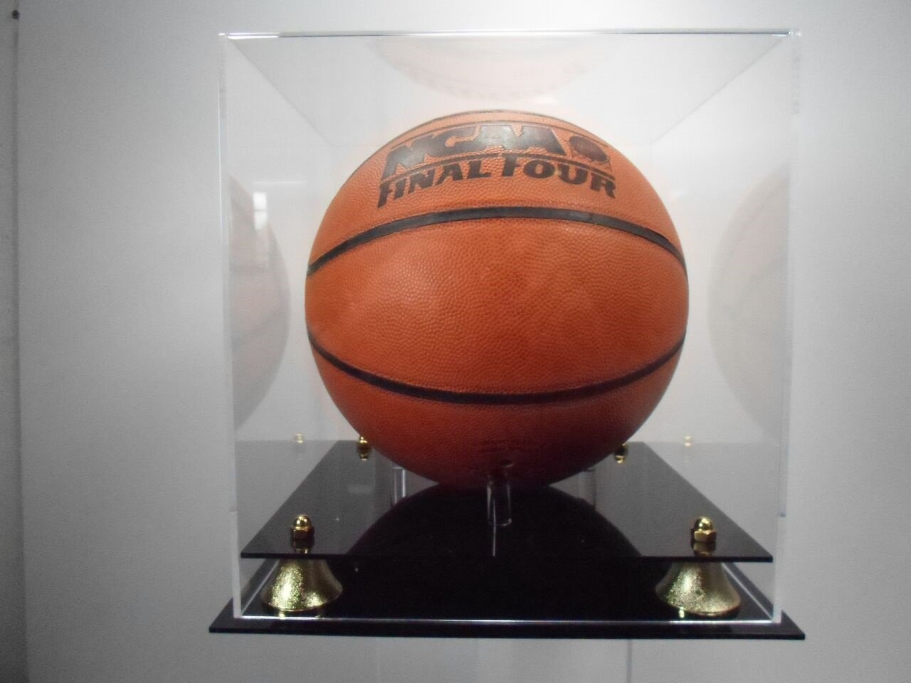 Basketball display case NBA NCAA two tier gold riser base by Plastics Unlimited