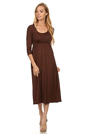 d8ee92582b7 Women s Solid Print Casual Basic Comfy 3 4 sleeve Relaxed Fit Maxi ...
