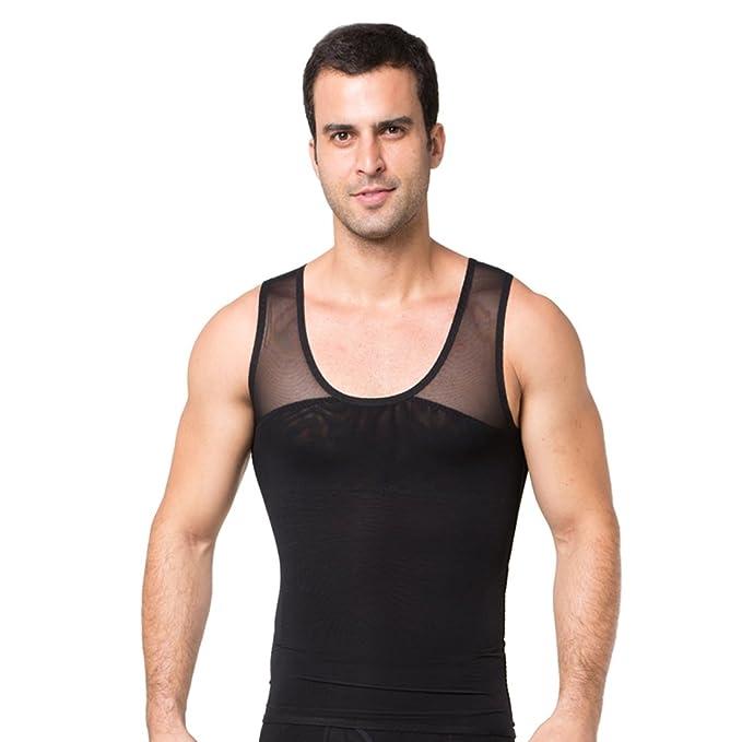 53638d70fa5845 Amazon.com  ZEROBODYS Mens Body Shaper Tank Tops Compression Shirt SS-M14   Clothing