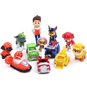 12PCS Paw dogs Patrol cake topper Cup cake topper mini Figurines kids mini toys Premium Party Favors for Kids Kids birthday party paw dog patrol part supplies