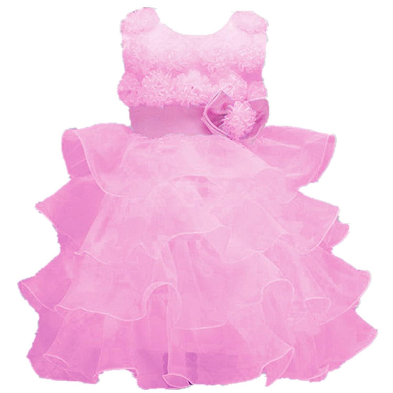 Fanessy Rosa Blumenmädchen Hochzeit Partei Kommunion kleid kostüm mädchen kinder Prinzessin-Hochzeit Kleid kostüm mädchen