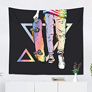 Suklly Tapestry Wall Hanging Polyester Boy Skater in Jeans and Sneakers Skateboard Street Cultures Girl Home Decor Living Room Bedroom Dorm 50 x 60 inches Picnic Mat Beach Towel