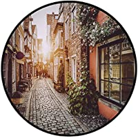 Printing Round Rug,City,Old Town Photography Europe Scenes Vintage Buildings Cafes Cool Architecture Mat Non-Slip Soft Entrance Mat Door Floor Rug Area Rug For Chair Living Room,Brown Pale Orange