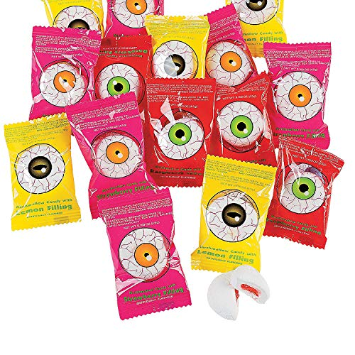Fun Express - Oozing Eyeballs for Halloween - Edibles - Soft & Chewy Candy - Taffy & Marshmallow - Halloween - 50 Pieces]()