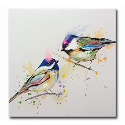 Myarton Hand Painted Colorful Birds White Background Canvas Wall Art Animal Oil Painting On Canvas Simple Modern Decoration Artwork For Home Decor