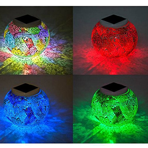 Power Outdo Table Table Crystal Light Decoration Lawn Colour Pool Lights Solar Glass for Beside Changing Light Party Lamp Yard Night Garden Lantern TechCode Patio A01 Solar Desk Waterproof Mosaic UIpOU