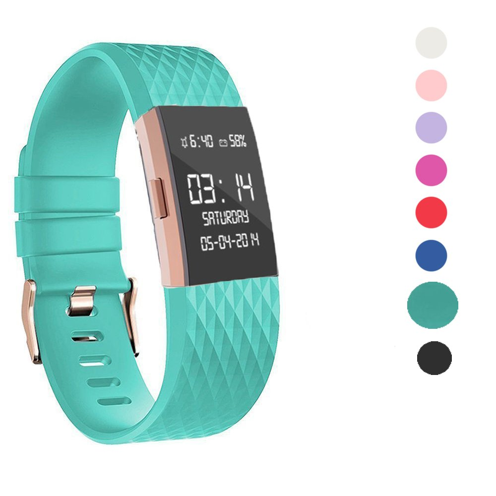 Wearlizer Compatible with Fitbit Charge 2 Bands Accessories Silicone Strap Replacement Charge 2 Special Edition Lavender Rose Gold Buckle