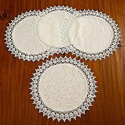 "Violet Linen Set of 4 Flower Bow Embroidered Lace Vintage Design Place Mat, 16"" Round, Ivory"