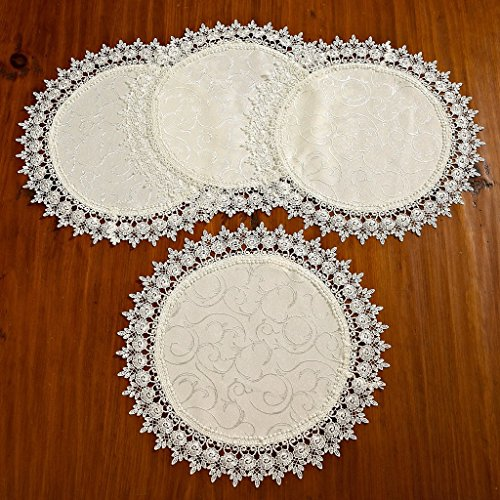 - Set of 4 Violet Linen Flower Bow Embroidered Lace Vintage Design Place Mat, 16