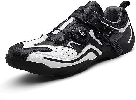 Zapatillas De Bicicleta De Carretera, Hombre Mujer Calzado De Bicicleta Calzado con Sistema De Bloqueo Transpirable para Montaña Y Carretera Accesorios para Ciclismo,Blanco,44 EU: Amazon.es: Deportes y aire libre