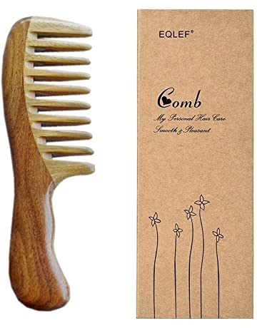 EQLEF® verde de madera de sándalo de dientes anchos sin peine hecho a mano estática