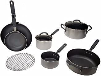 K37437 CooksEssentials 9-Piece Cookware Set w/ Color Smart Nonstick SILVER