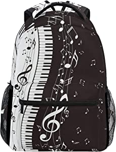 KUWT Music Notes Piano Keyboard School Backpack Casual Shoulder Bag College Bookbag Travel Hiking Daypack