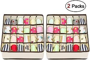 Joyoldelf Sock Drawer Organizer Divider 2 Packs Underwear Organizer, 24 Cell Collapsible Closet Cabinet Organizer Underwear Storage Boxes for Storing Socks, Bra, Handkerchiefs, Ties, Belts (White)