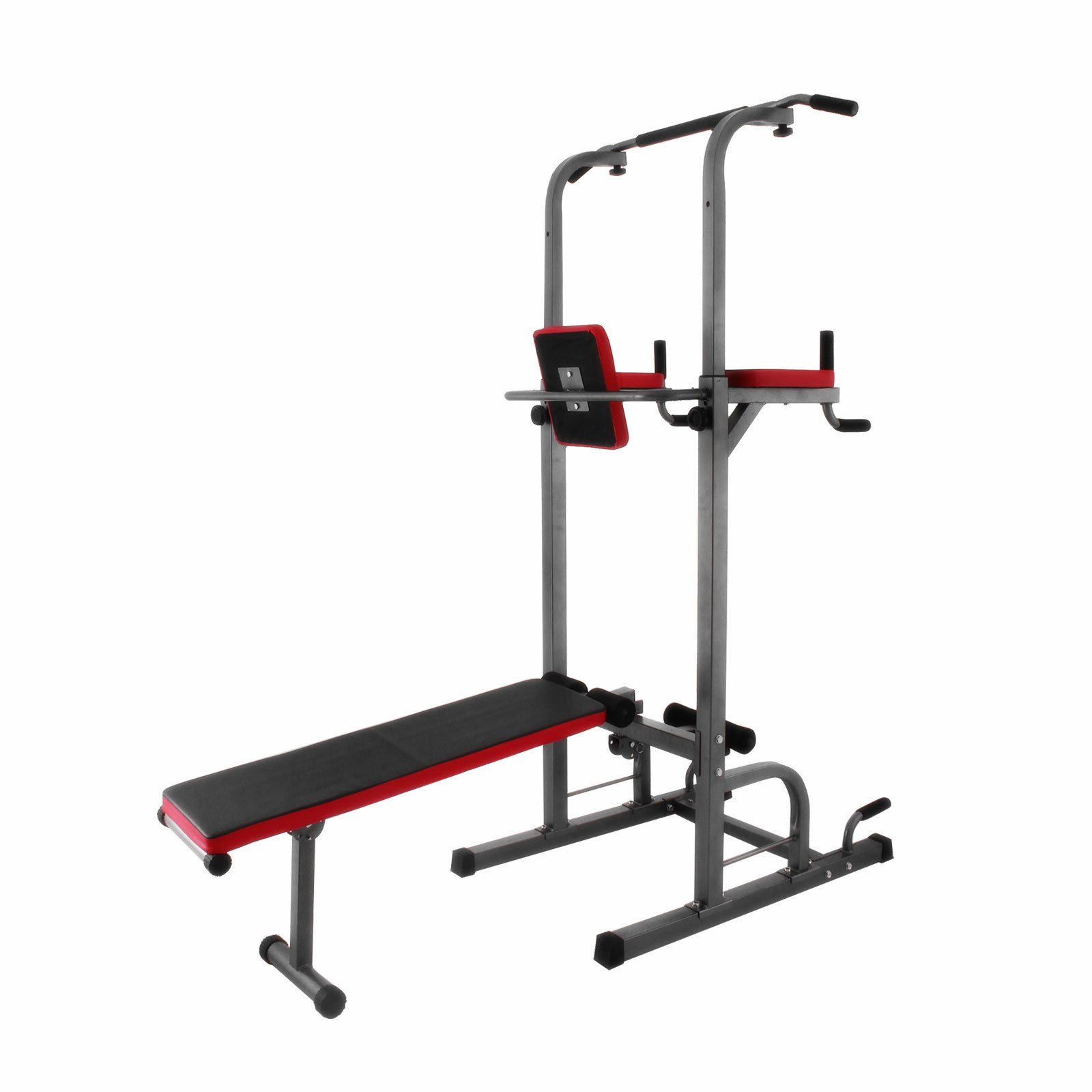 Popsport 330/440LBS Power Tower Station Series Multi-Station Power Tower Adjustable Height Dip-Station Workout Pull Up Station for Indoor Home Fitness (363 with Sit Up Bench)