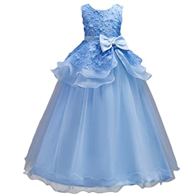 ca02eac229fa1 Robe Cérémonie Enfant Fille Robe de Princesse Tutu Longue Florale Nœud  Papillon de Mariage Demoiselle d