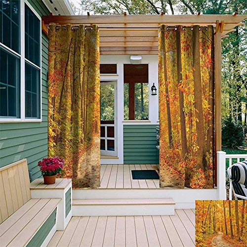 Fall, Outdoor Curtain Kit, Deciduous Trees with Seasonal Leaves Pathway Wilderness Woodland Image, Set for Patio Waterproof W72 x L96 Inch Orange Pale Green ()
