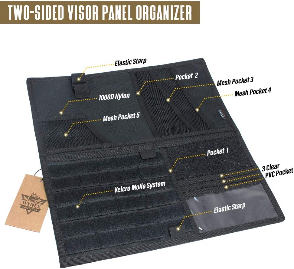 Wynex Truck Visor Panel Organizer for Pickup F150 13.87 Large Molle Visor Panel Vehicle Tactical Sun Visor Holder Car Sunshade Storage Pouch with 3 Hoop /& Loop Straps Molle Webbing for Ram Tundra